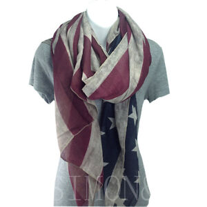 Vintage American Flag Scarf Stylish Patriotic Themed Wrap Scarf For Mens Ladies
