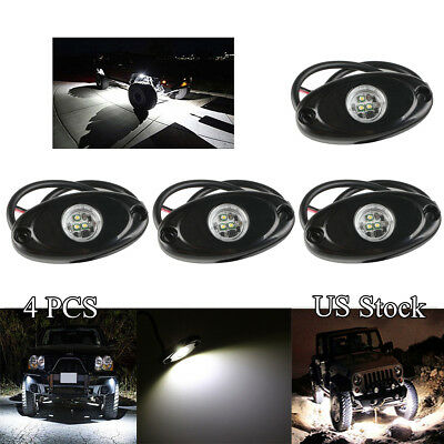 4x 9W White CREE LED Rock Light for JEEP Truck Under Body Trail Rig Fog Lights