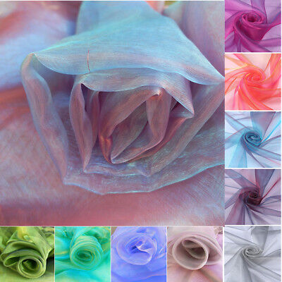 Shine Organza TWO TONE Soft  Iridescent Tulle Fabric Voile Sheer Wedding