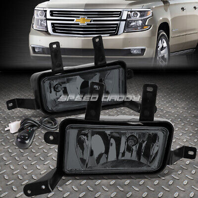 FOR 15-20 TAHOE SUBURBAN YUKON XL SMOKED LENS BUMPER FOG LIGHT LAMPS W/SWITCH