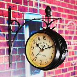 Antique Double Sided Wall Mount Station Clock Garden Vintage Retro Home Decor A+