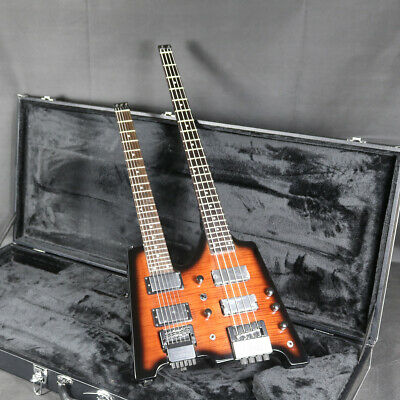 Double Neck Headless Electric Bass Guitar Body Basswood Tobacco Color Finishes