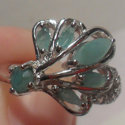 Genuine Green Emerald & White Sapphire 925 Sterling Silver Cocktail Ring Sz 6.5