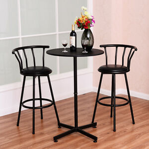 Marvelous 3 Piece Bar Table Set With 2 Stools Bistro Pub Kitchen Dining Furniture  Black