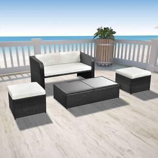 New Items-Nine Piece Outdoor Dining Set Black (SKU 42481)vidaXL