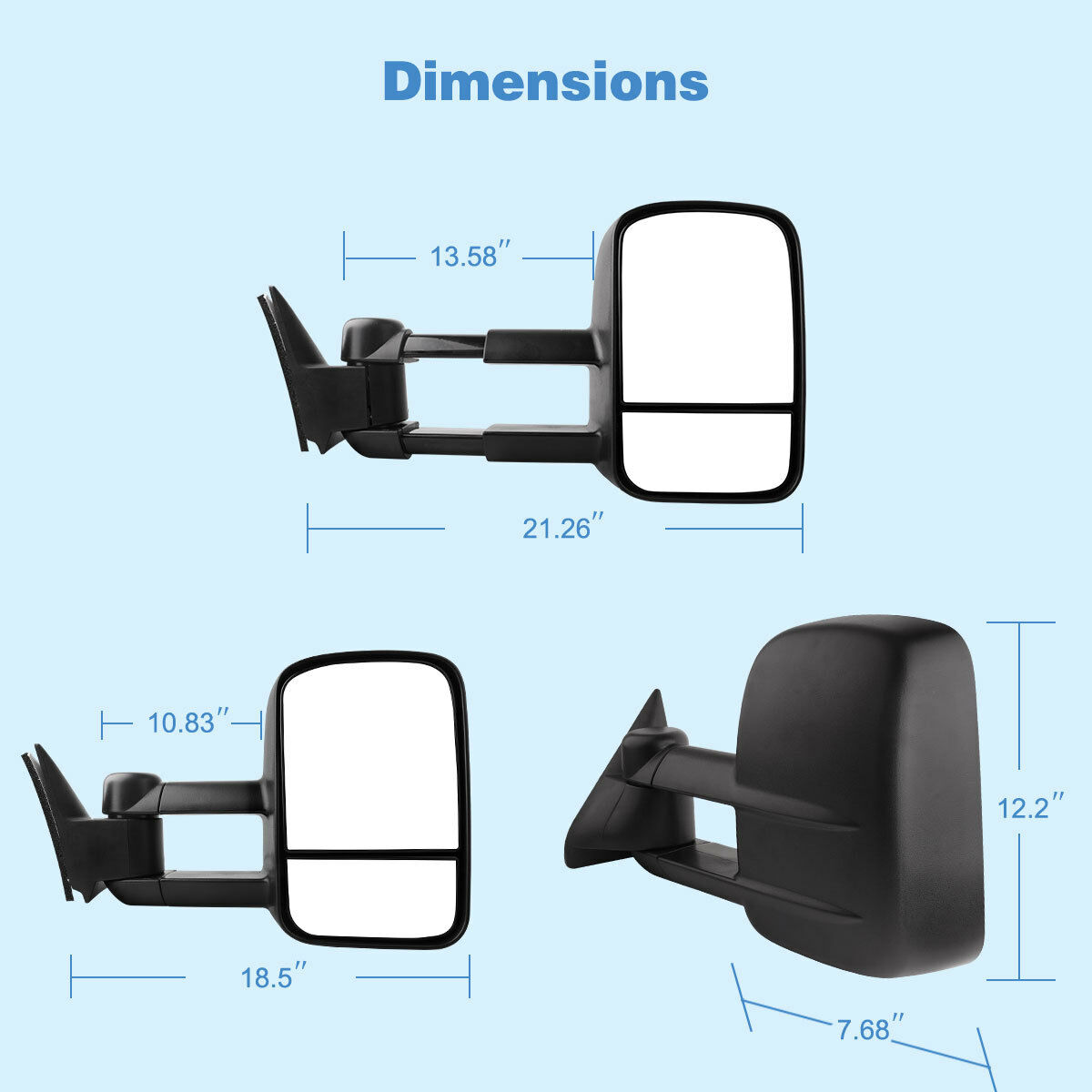 FOR 1992-1999 CHEVY TAHOE//GMC YUKON MANUAL ADJUSTMENT TOW TOWING MIRROR LEFT