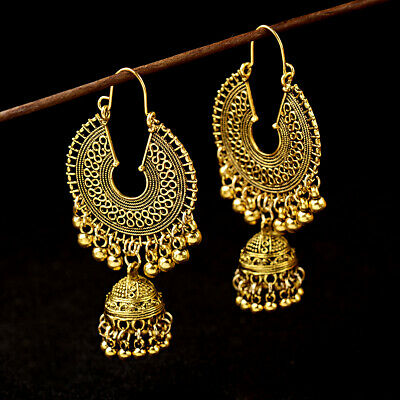 - Gold Plated Indian Bollywood Women Jhumka Earring Traditional Set Ethnic Jewelry