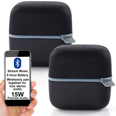 2x 15W Altavoz Bluetooth Kit -grey- True Estéreo Inalámbrico Portátil Recargable