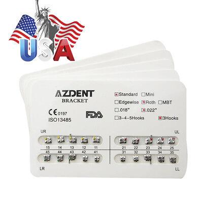 10X Usps Azdent Dental Orthodontic Metal Bracket Brace Standard Roth 022 Hooks 3