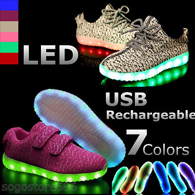 Kids Boys Girls Led Light Up shoes Sportwear Luminous Casual Sneaker USB Charger
