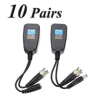 10 Pair CCTV Coax BNC Video Power Balun Transceiver to CAT5e 6 RJ45 Connector