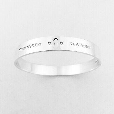 Tiffany & Co. Sterling Silver Key Hole Lock Diamonds Bangle Bracelet Pouch & Box