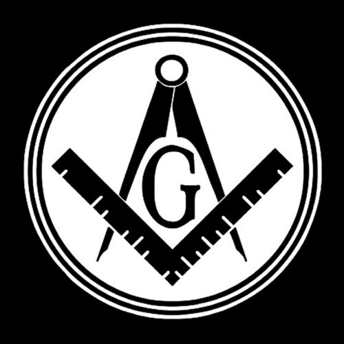 Filled Circle Square & Compass Masonic Vinyl Decal - White 6 Inch