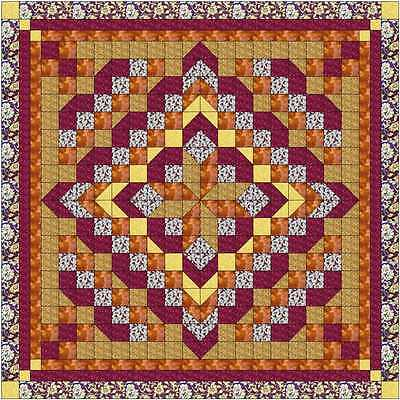 Easy Quilt Kit/Faceted Star/Burgandy Golds/Pre-cut Fabrics Ready To Sew!