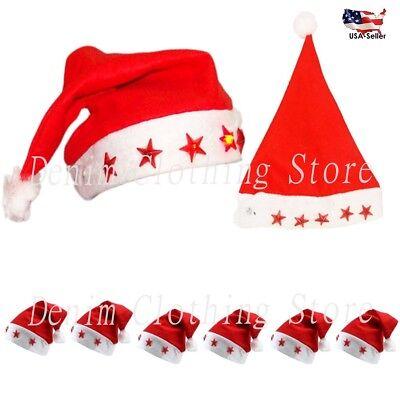 LOT OF 12 FLASHING SANTA HAT XMAS LIGHT UP CHRISTMAS ADULT ONE SIZE WHOLESALE