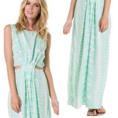 ANGIE Maxi Dress Mint Green Cut Out Goddess Sleeveless Grecian Festival Sz Small - Green Greek Dress