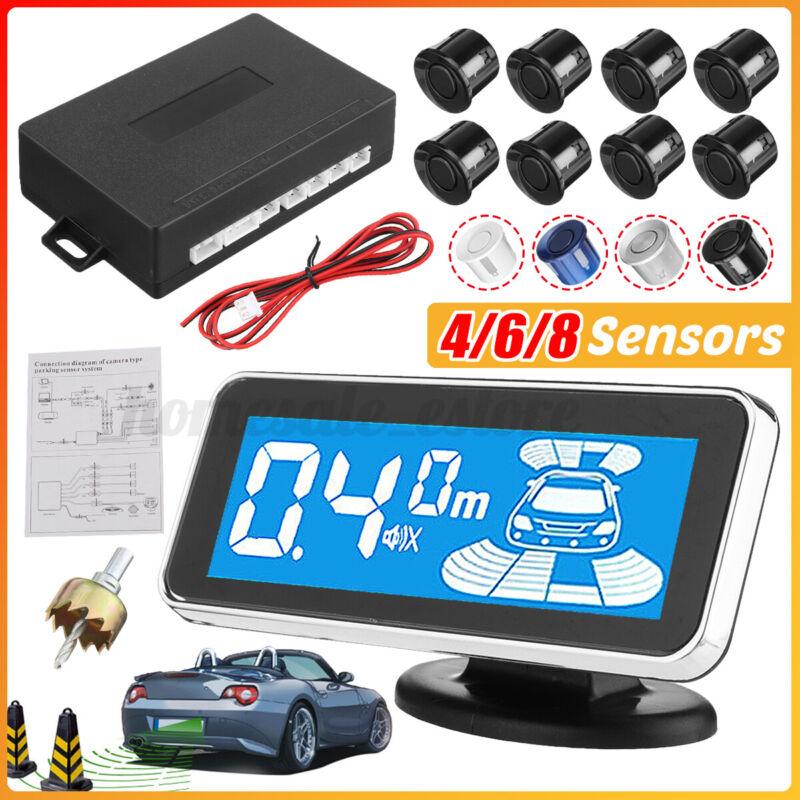 4/6/8 Radar Car Parking Sensor Kit View Reverse Alarm Backup System LCD Display