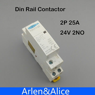 Toct1 2p 25a 24v 5060hz Din Rail Household Ac Contactor 2no