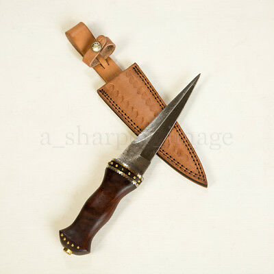 """Celtic Scottish 266 Layer 54 HRC Damascus 12.5"""" Sgian Acclais Dagger SHARP! SALE](Boots 70 Sale)"""