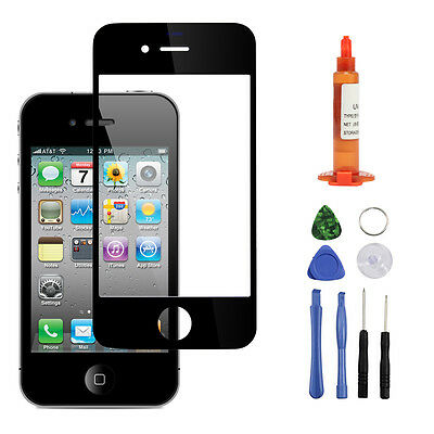 For IPhone 4s / 4 Fa Outer Screen Glass Lens Replacement REPAIR KIT Black