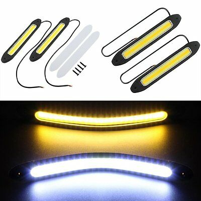 2PCS Waterproof 12V LED COB Car DRL Fog Driving Daytime Running Lamp Turn Light