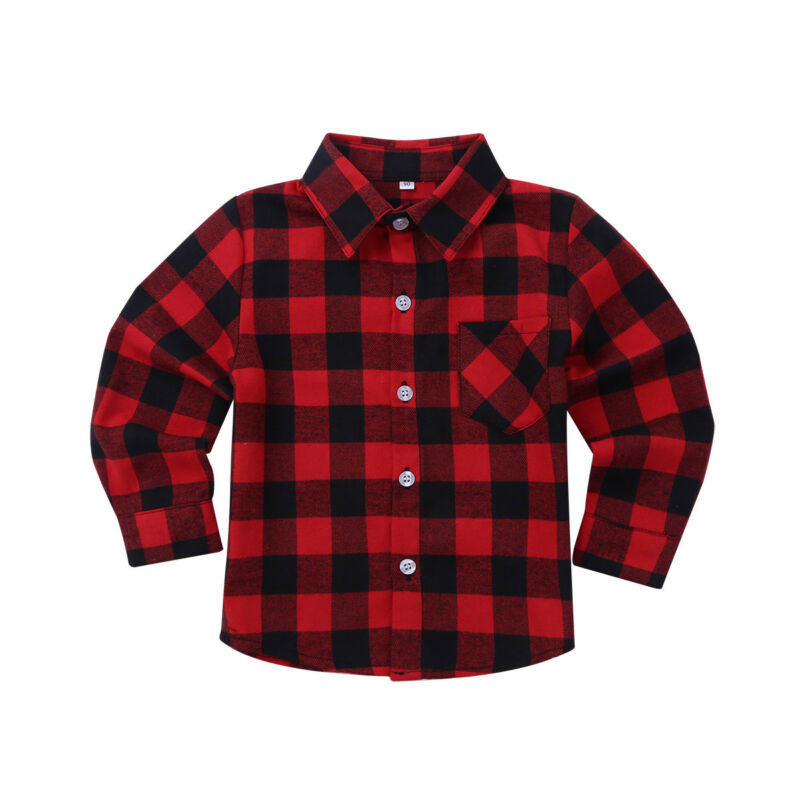 Kids Boys Girls Lapel Plaid Shirt Tops Button Up Cotton Flannel Shirt School