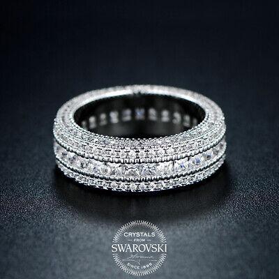 18K White Gold Creat Diamond Wedding Engagement Band Eternity Women Promise (Aventura Promise)