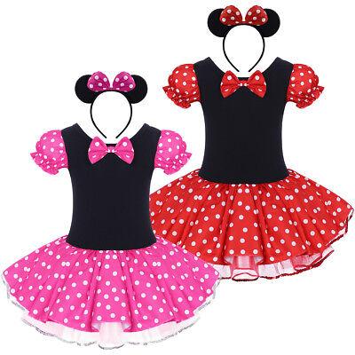 Minnie Mouse Kinder Mädchen Kostüm Tutu Kleid Partykleid Mit Ohren Stirnband - Kostüm Mit Tutus Mädchen