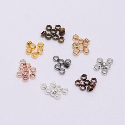 500pcs Rondelle Crimp End Finding Stopper Spacer Beads For DIY Jewelry Making Copper Crimp End