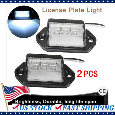 2x LED License Plate Tag Light Boat Rv Car Trailer Truck Interior SUV Van Lamps