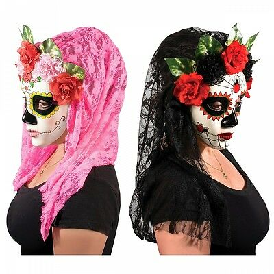 Day of The Dead Mask Womens Dia de Los Muertos Halloween Costume Fancy Dress - Day Of The Dead Costume Mask