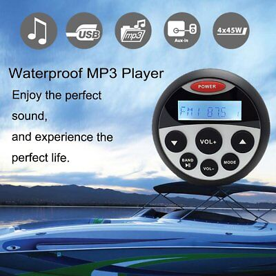 Waterproof Marine Boat (Boat Marine Radio Bluetooth Stereo Waterproof  Audio Sound System Car MP3)