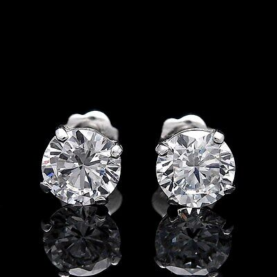 1/2Ct Brilliant Created Diamond Solitaire Earrings 14K White Gold Round Studs