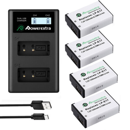 LP-E17 Li-Ion Battery + LCD USB Charger for Canon EOS 750D 760D T7i T6s T6i M3