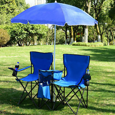 Foldable Picnic Beach Camping Double Chair+Umbrella Table Cooler Fishing Fold Up ()