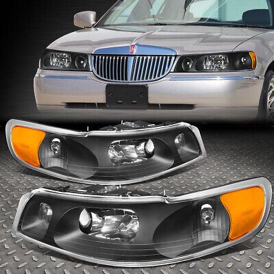 FOR 98-02 LINCOLN TOWN CAR BLACK HOUSING AMBER CORNER DRIVING HEADLIGHT/LAMPS