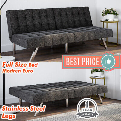Tufted Convertible FUTON SOFA BED Full Size Sleeper COUCH Gray Linen (Gray Sofa Bed)