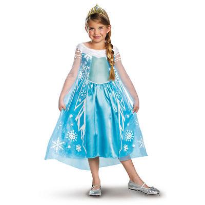 Elsa Halloween Costume Child (DISNEY FROZEN ELSA DELUXE CHILD GIRL COSTUME HALLOWEEN DRESS SIZE 4-6X)