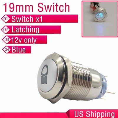 12v 19mm Blue Led Push Button Metal Latching Switch For Car Fog Lights Us Ship