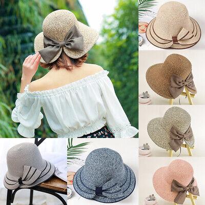 Women's Kids Girls Straw Bowler Boater Sun Hat Round Flat Caps Brim Summer - Kids Bowler Hat