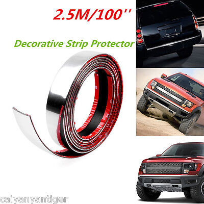 (100'' 2.5m Car Door Edge Bumper Guard Strip Protector Moulding Trim Strip Chrome)