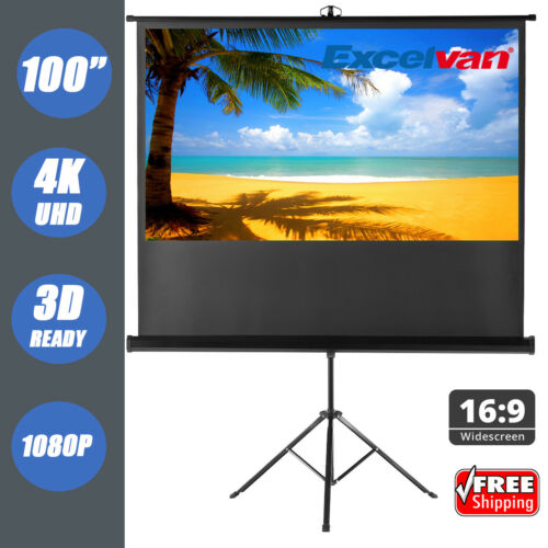 "100"" Outdoor Projector Projection Screen Pull-up 16:9 with S"