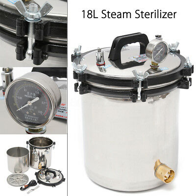 18l Stainless Steel Pressure Steam Autoclave Sterilizer Equipment Dual Heating