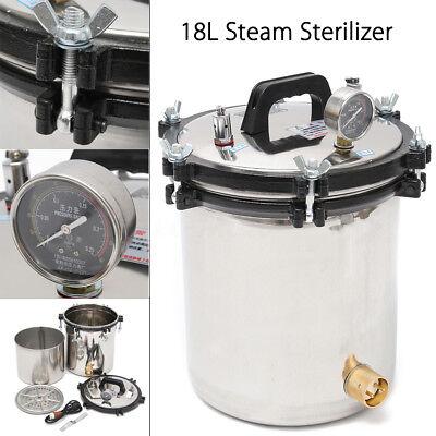 18l Stainless Steel Pressure Steam Autoclave Sterilizer Equipment Dual Heating