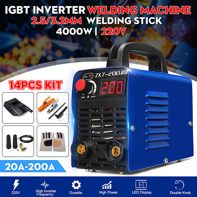 220v 200a Mma Arc Welding Machine Igbt Inverter Stick Welder W Mask 14pcs Kit