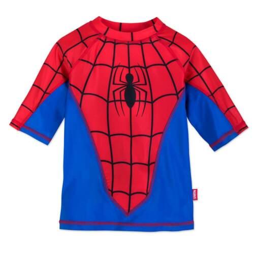 NWT Disney Store Spiderman Boy Rash Guard Shirt Top UPF 50+ 7/8,91/0 Avengers