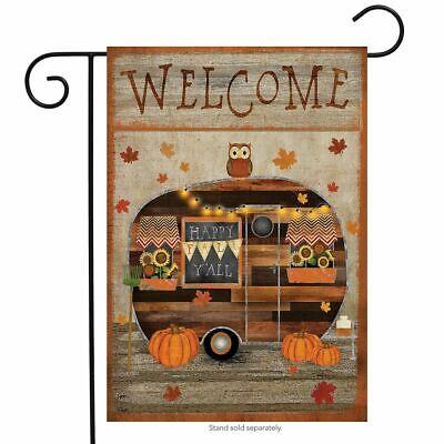 "Fall Camper Primitive Garden Flag Welcome Autumn 12.5"" x 18"" Briarwood Lane"