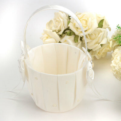 Ivory Satin Bowknot Pearl Flower Girl Basket Engagement Wedding Ceremony Party