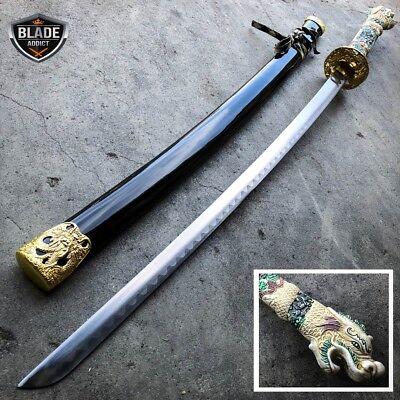 "40"" White Dragon NINJA Bushido SAMURAI KATANA Japanese Sword Carbon Steel Blade"