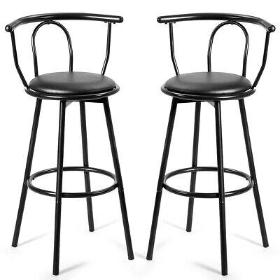 2 PCs Bar Stools Counter Pub Chairs Swivel Seat Metal Frame